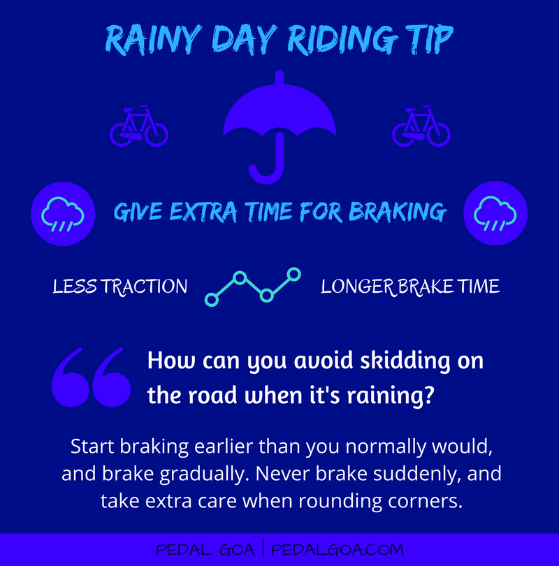 Cycling in the rain, TIP: Give extra time for braking – How can you avoid your bike from skidding on the road when it's raining?