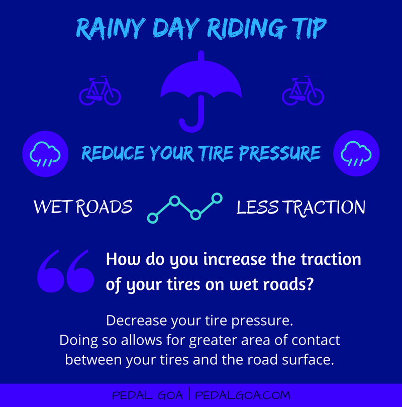 Cycling in the rain, TIP: Reduce your tire pressure – How do you increase the traction of your bike tires on wet roads?