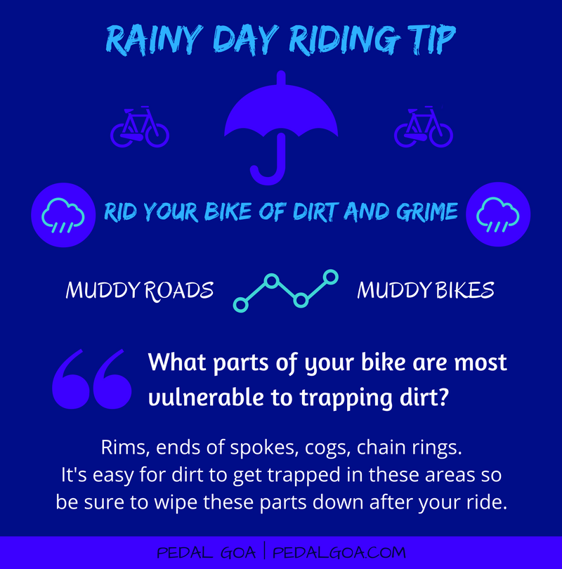 Cycling in the rain, TIP: Rid your bike of dirt and grime after your ride – What parts of your bike are most vulnerable for trapping dirt?