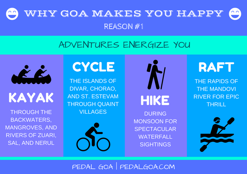 Why Goa makes you happy :) - Adventure sports: kayaking, cycling, hiking, white water rafting. Goa, India | Pedal Goa