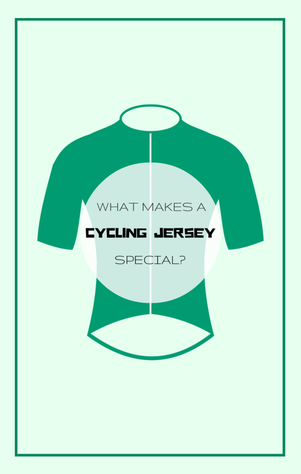 Most cycling jerseys are designed with common features, with the biking position of a cyclist in mind. Common features of a cycling-specific shirt: higher neckline, zipper, elastic cuffs and waist, back pockets, longer back.