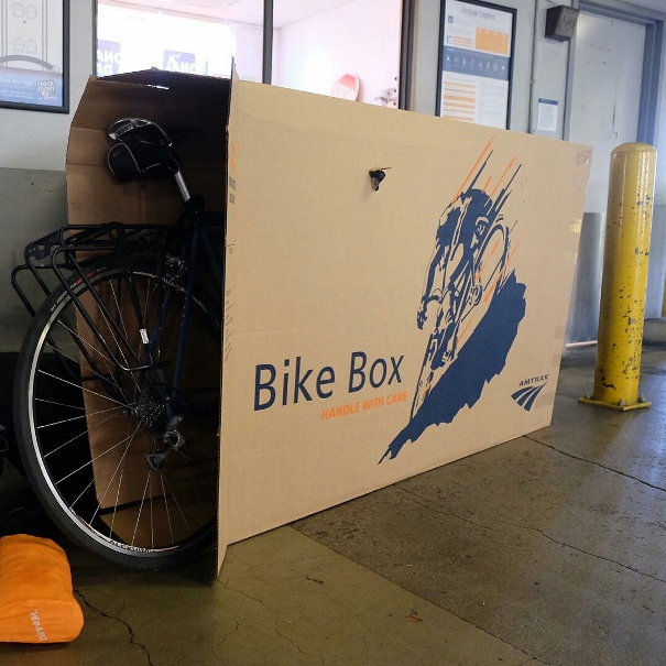 Bike travel tip: If you're looking for a cheap cardboard bike box, even if it's for a plane and not the train, check your local Amtrak train station. They may sell cardboard bike boxes! (For a small fee.)
