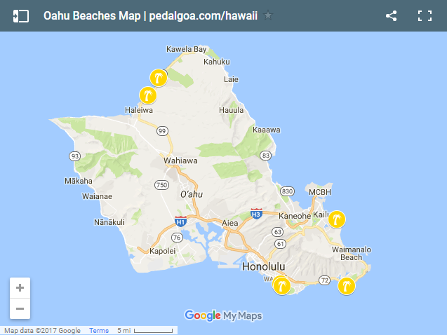 Oahu: Map of Oahu beaches, Hawaii