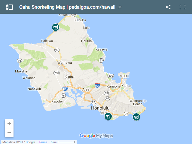 Snorkeling Oahu map: Best beaches for snorkeling in Oahu, Hawaii