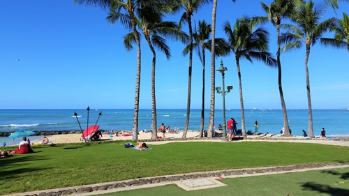 Kuhio Beach Park In Waikiki Where A Free Hawaiian Cultural Show Takes Place Evenings At