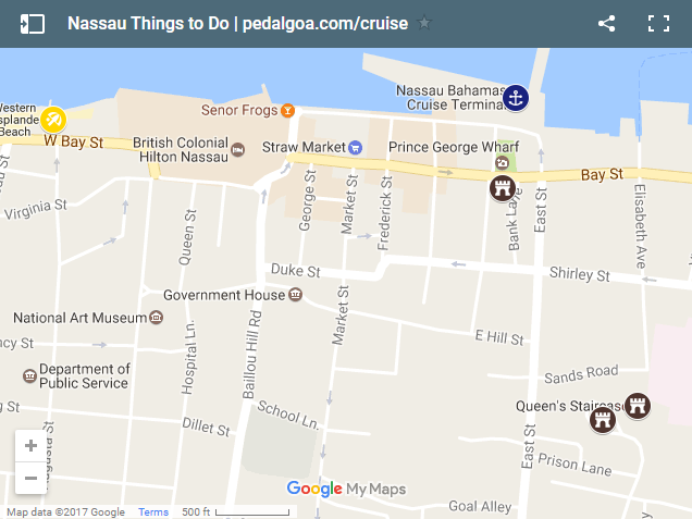 Things to do in Nassau Bahamas with Nassau cruise port map for self-guided walking excursions