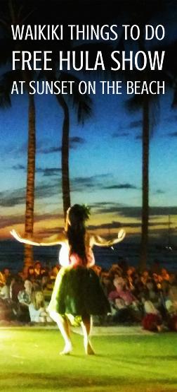 Waikiki hula show: Free hula show on Waikiki Beach at sunset with Hawaiian music and dance, Oahu Hawaii