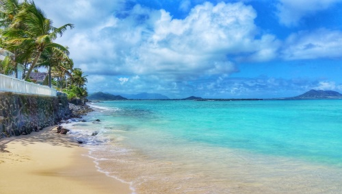 Lanikai Beach, Hawaii: View towards Kailua Bay from Lanikai Beach, Oahu beaches