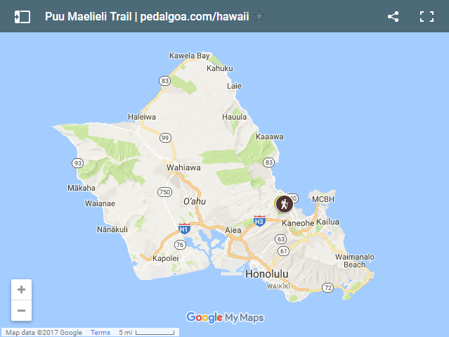 Oahu map with Kaneohe hike