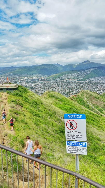 Diamond Head Crater trail summit. A volcano eruption that happened thousands of year's ago as a part of Hawaii's history, now suffering from erosion