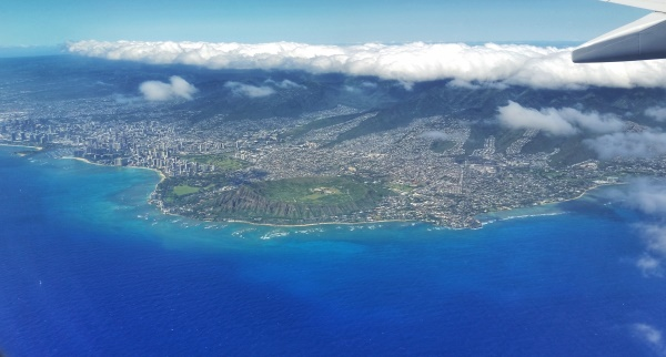 Diamond Head Crater view with result of volcano eruption and a part of Hawaii history on Oahu