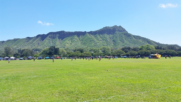 Diamond Head Crater resulted from volcano eruption in Hawaii, view from Kapiolani Park near Waikiki