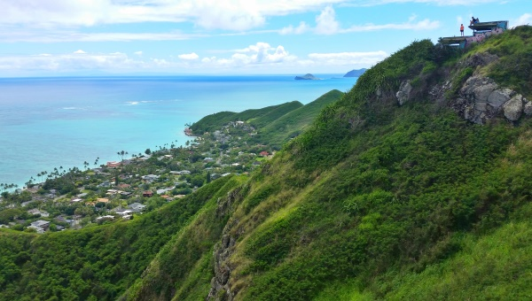 Lanikai Pillbox Hike: Pillboxes and Mokes on hiking trail, Oahu, Hawaii