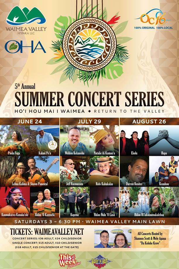 Waimea Valley summer concert series: Hawaiian music near Waimea Beach