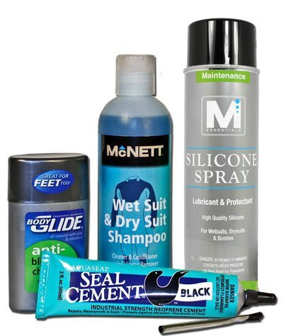 Wetsuit maintenance care kit, including wetsuit repair sealant glue to fix a wetsuit tear or hole. Good for taking care of your neoprene triathlon wetsuit or scuba diving wetsuit! Have the supplies on-hand so your triathlon training and training for open water swimming for that ironman triathlon or sprint triathlon won't be interrupted when your triathlon gear isn't ready to go! Here are wetsuit repair tips! Use anti-chafing balm on your wetsuit for a faster triathlon transition too!