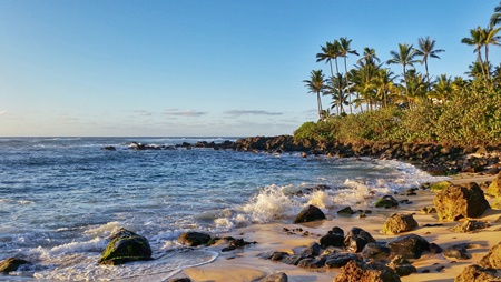 Where to see turtles on Oahu: This is Laniakea Beach at sunset on the North Shore