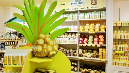 Dole Plantation gift shop with tons of pineapple products including handmade candles, soaps, and lotions, Hawaii