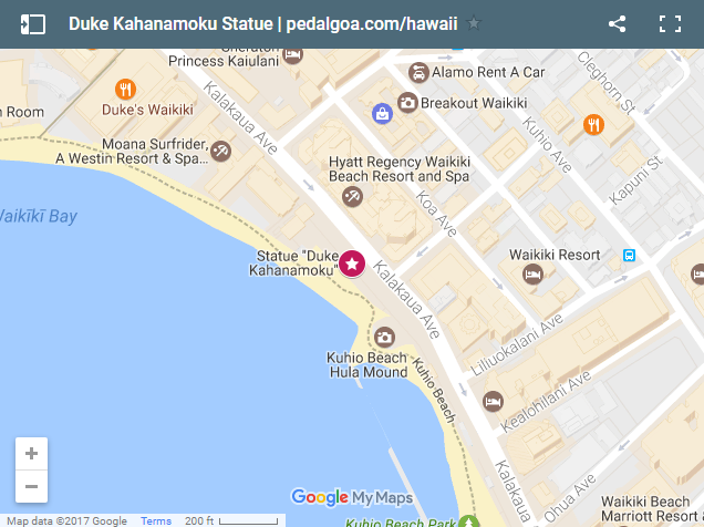 Waikiki map of Duke Kahanamoku Statue in Oahu