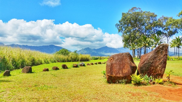 Hawaiian culture: Kukaniloko birth stones state monument in Central Oahu, Hawaii