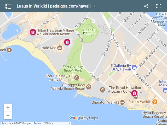 Luaus In Waikiki Map List Oahu Hawaii Oahu Luau