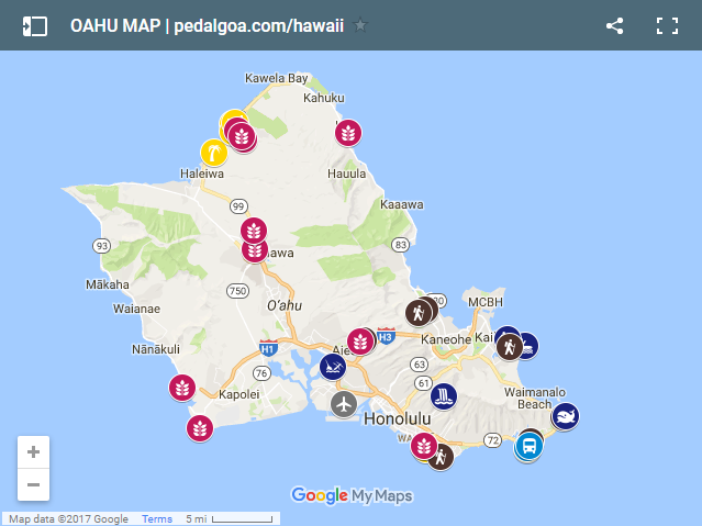 Oahu: Map of Oahu of things to do, Hawaii