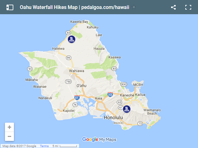 Map of Waterfalls in Oahu, Hawaii