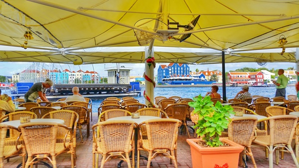 Curacao cruise: Food, restaurants, and places to eat in downtown Willemstad at waterfront cafe, Caribbean