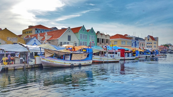 Curacao cruise: Floating market near downtown Willemstad, Caribbean