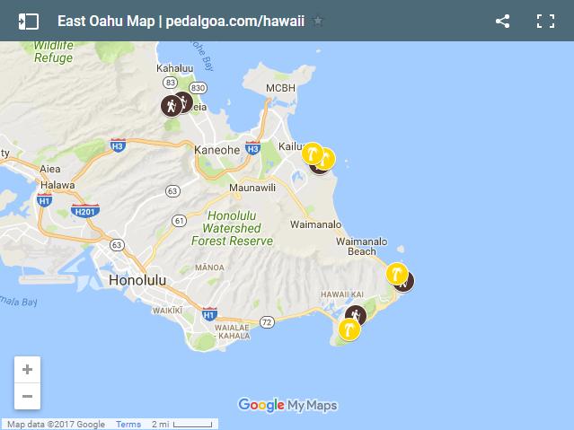 Map of East Oahu, Hawaii