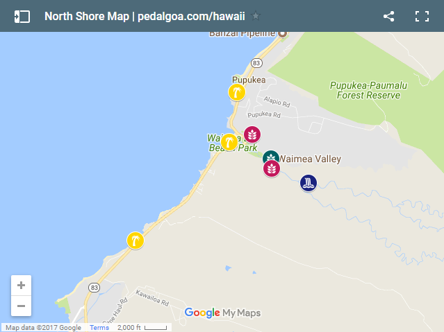 Map of North Shore, Oahu, Hawaii