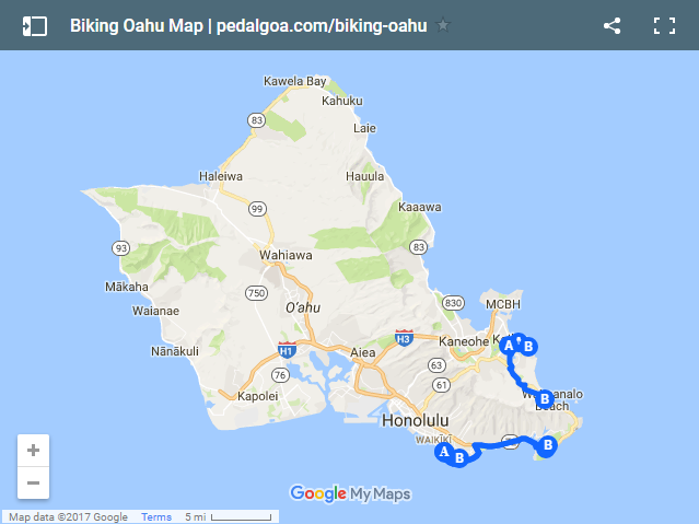 Biking Oahu map, Hawaii