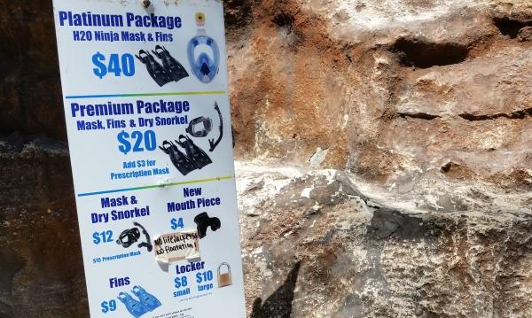 Hanauma Bay snorkeling: Rental prices for snorkel gear at Hanauma Bay, Oahu, Hawaii