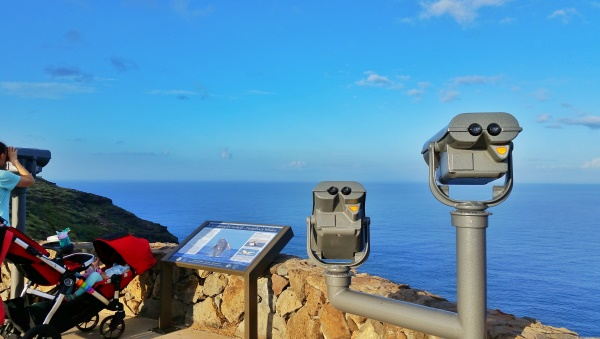 Makapuu Lighthouse Trail: Binoculars for whale watching on Oahu, Hawaii