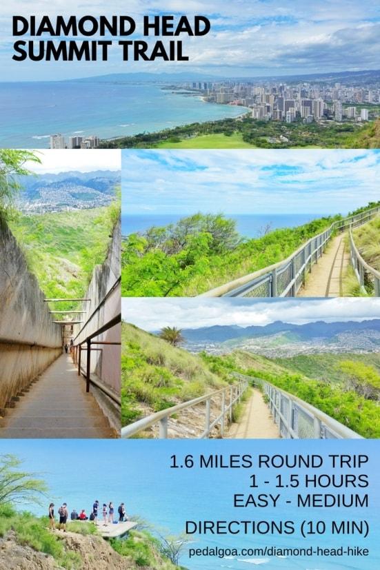 Best short hikes on Oahu, travel guide: Diamond Head Hike, best views of Waikiki Beach and downtown Honolulu, Oahu, Hawaii