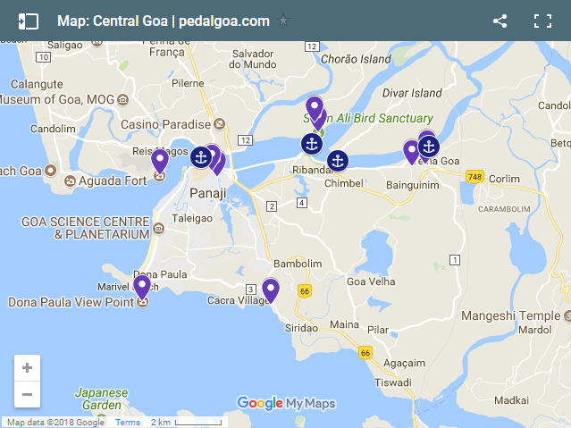 Map, Central Goa. List of Best places to visit in Goa in one week, India