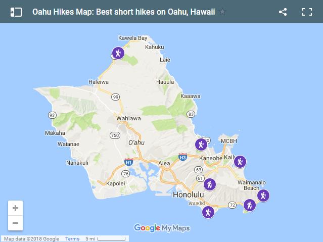 Oahu Hikes Map: Best short hikes on Oahu, Hawaii. Oahu Travel Guide.