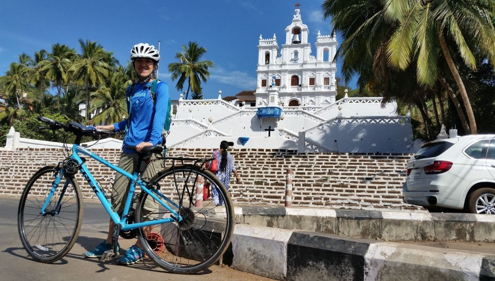Cycling Goa: Famous white church in Panjim, India