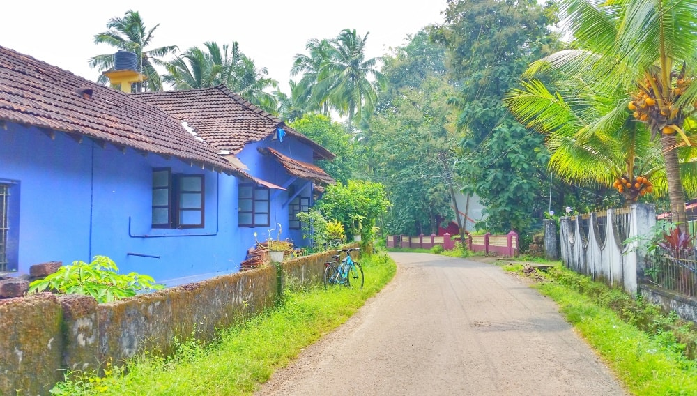 Cycling Goa: South Goa villages with Portuguese houses, India