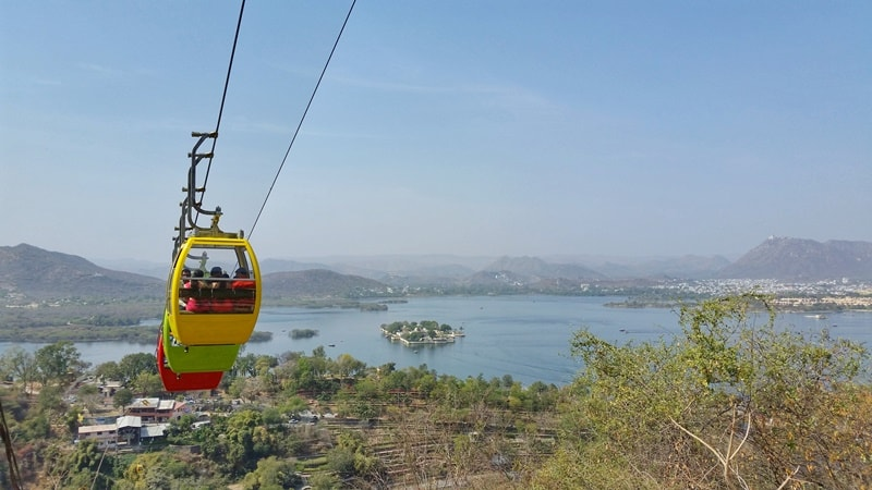 Udaipur itinerary, 2 days: Ropeway cable car in Udaipur to hilltop temple with best views. Best places to visit in Udaipur, Rajasthan, India.