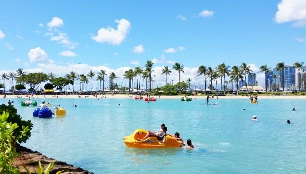 Waikiki Activities Travel Guide: Family-friendly activities with lagoon rentals at Hilton Hawaiian Village Waikiki Beach Resort - Best hotels for families. Best things to do in Waikiki, Oahu, Hawaii.