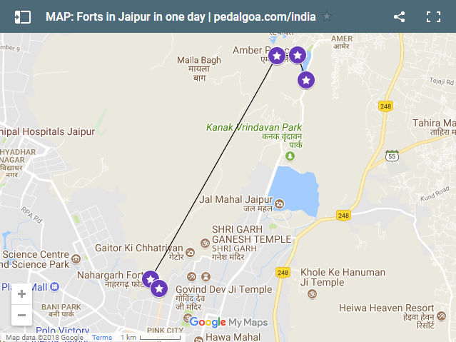 Jaipur Map, route: Forts in Jaipur in one day. Jaipur to Amber to Jaigarh to Nahargarh to Jaipur. Rajasthan forts, India
