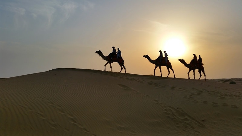 Jaisalmer itinerary, 3 days: Overnight camel safari in Jaisalmer desert tour, Rajasthan. Sunset camel ride. Best places to visit in Jaisalmer, India