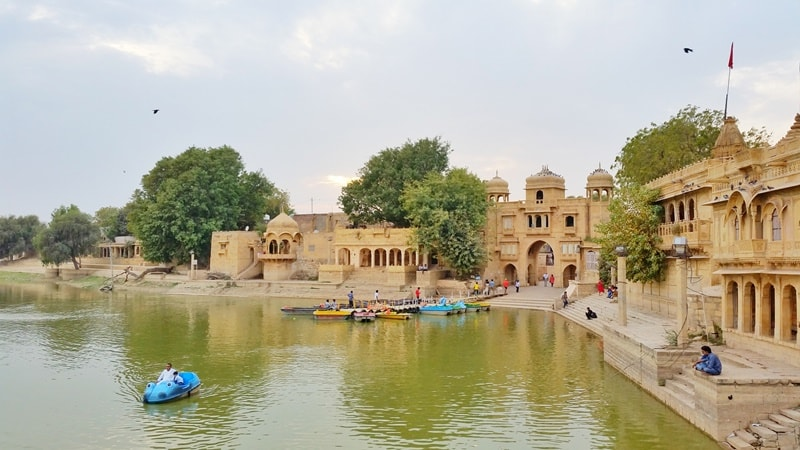 Jaisalmer itinerary, one days: Sunset boat ride, Gadisar Lake sunset point. Best places to visit in Jaisalmer, Rajasthan, India.