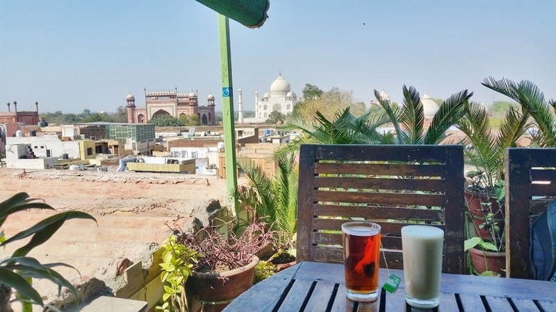 One day in Agra, itinerary: Best views of Taj Mahal from rooftop restaurant - Hotel Saniya Palace. Best places to visit in Agra, Golden Triangle, India