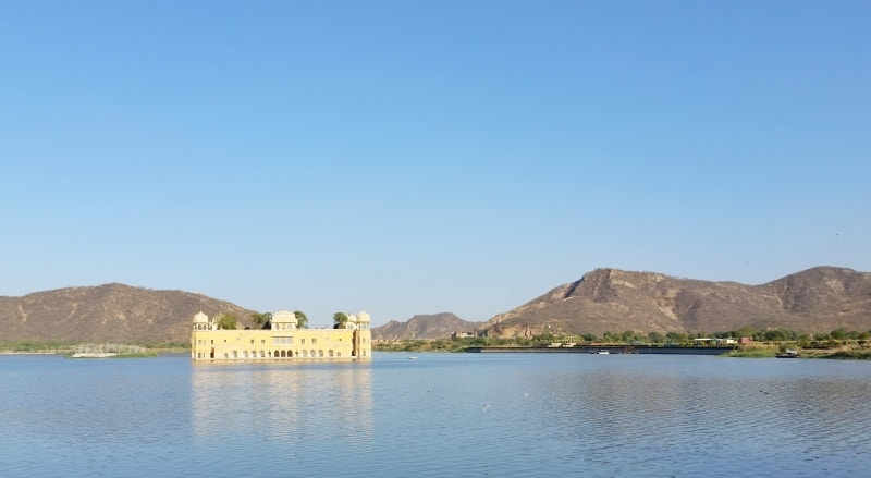 Palaces in Jaipur in one day: Jal Mahal - Water Palace, lake. Rajasthan palaces, India