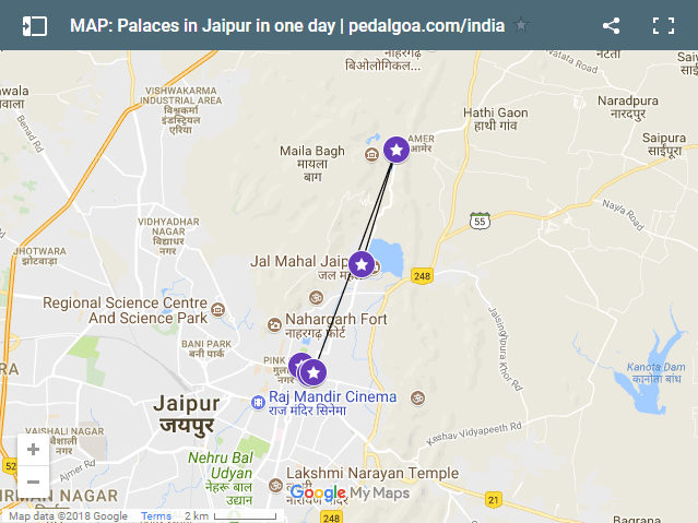 Jaipur Map, route: Palaces in Jaipur in one day. City Palace to Hawa Mahal to Amber Palace to Jal Mahal. Rajasthan palaces, India