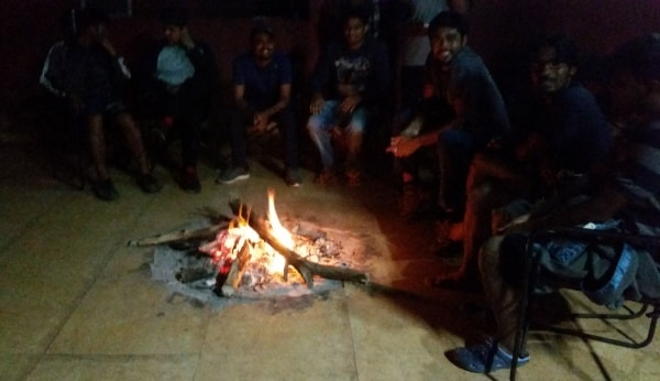 Munnar itinerary, 4 days: Meesapulimala Trek base camp. Campfire after dinner food. Best things to do in Munnar, Kerala, India.